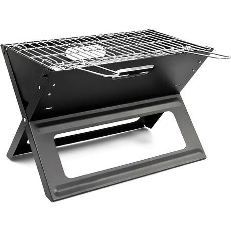 Barbecue pliable et transportable avec poignée pratique en inox bac à Charbon Acier Noir grill été jardin parc