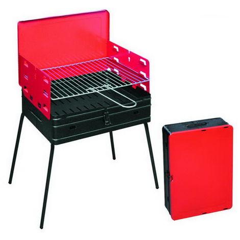 Barbecue pliant charbon de bois en cas portable pour les barbecues, des pique-niques, cm. 40x30x72h, pieds richiudubili.