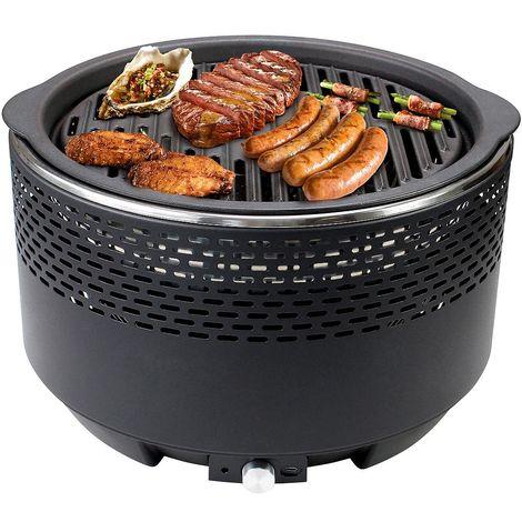 Barbecue Portable au Charbon de Bois, BBQ pour Bateau Parc Plage, Noir, Avec plaque de cuisson en fonte et sac de transport, Dimensions: 34 x 34 x 22 cm
