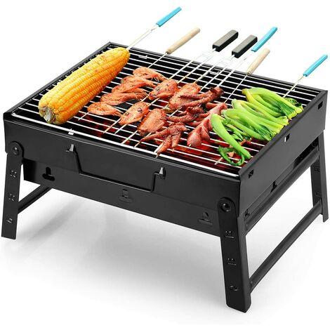 Barbecue Portable Petit Barbecue à Charbon de Table Domestique Pliable avec 2 Barbecue Grille INOX Barbecue Extérieur/Camping/Piquenique