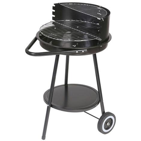 Barbecue rond avec roulettes et poignée Noir 47.00 cm x 70.00 cm x 78.00 cm