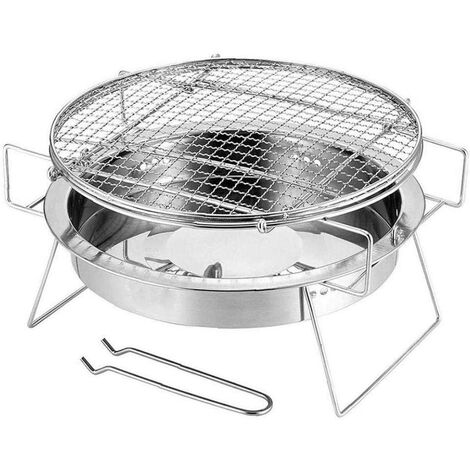Barbecue Round Mini Foldable Stainless Steel Barbecue Grill for Outdoor Camping Patio Silver