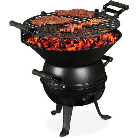 Barbecue tonneau, fonte de fer et acier, réglable hauteur, portable, charbon de bois, grillage d.35 cm,noir