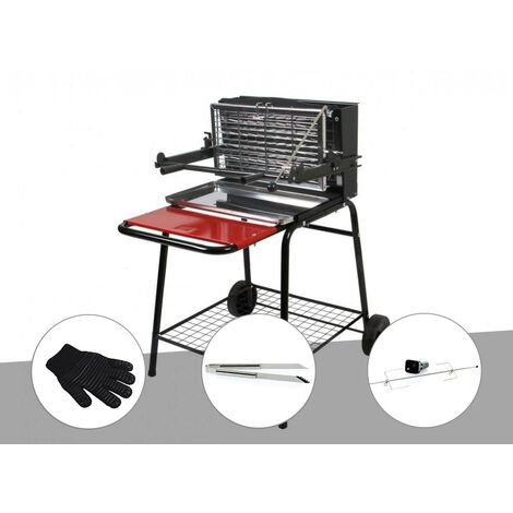 Barbecue vertical Raymond Somagic + Kit tournebroche + Pince inox + Gant de protection