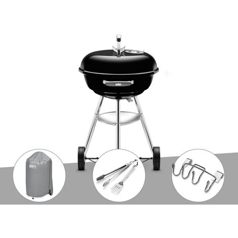 Barbecue Weber Compact Kettle 47 cm + Housse + Kit Ustensile + Support Accessoires