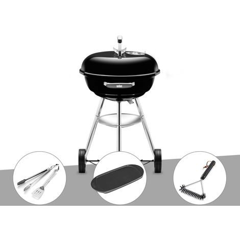 Barbecue Weber Compact Kettle 47 cm + Kit Ustensile + Plancha + Brosse