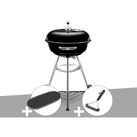 Barbecue Weber Compact Kettle 47 cm + Plancha + Brosse