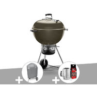 Barbecue Weber Master-Touch GBS 57 cm Gris + Housse + Kit Cheminée