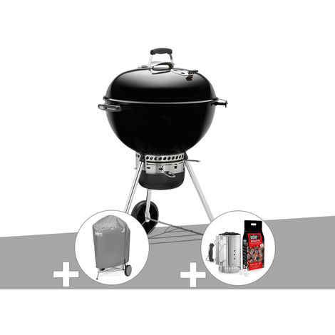 Barbecue Weber Master-Touch GBS 57 cm Noir + Housse + Kit Cheminée