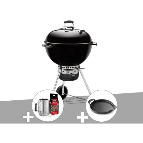 Barbecue Weber Master-Touch GBS 57 cm Noir + Kit Cheminée + Plancha