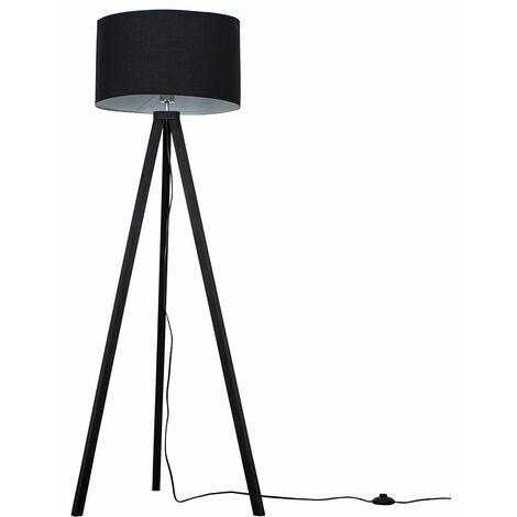 Barbro Black Wood 150cm Tripod Floor Lamp