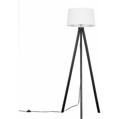 Barbro Black Wood LED Tripod Floor Lamp