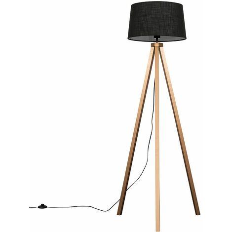 Barbro Copper Wood Tripod Floor Lamp + LED Bulb - Black