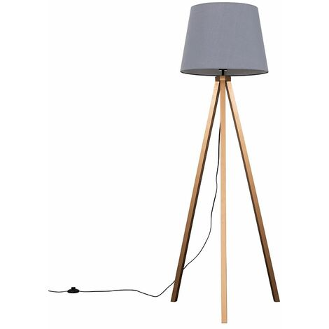 Barbro Copper Wood Tripod Floor Lamp with Aspen Shade + 6W LED GLS Bulb - Grey