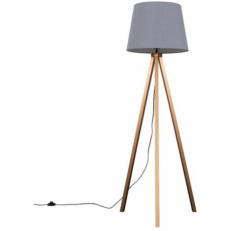 Barbro Copper Wood Tripod Floor Lamp with Aspen Shade - Grey
