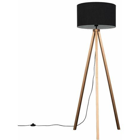 Barbro Copper Wood Tripod Floor Lamp with Rolla Shade + 6W LED GLS Bulb - Black
