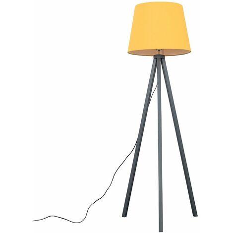 Barbro Grey Wood Tripod Floor Lamp