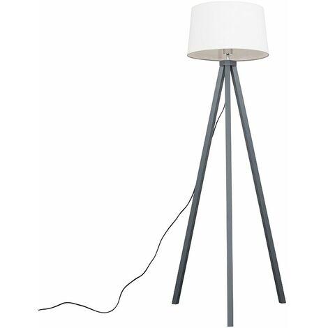 Barbro Grey Wood Tripod Floor Lamp - White