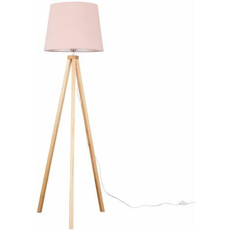 Barbro Light Wood Tripod Floor Lamp + LED Bulb - Beige - Brown