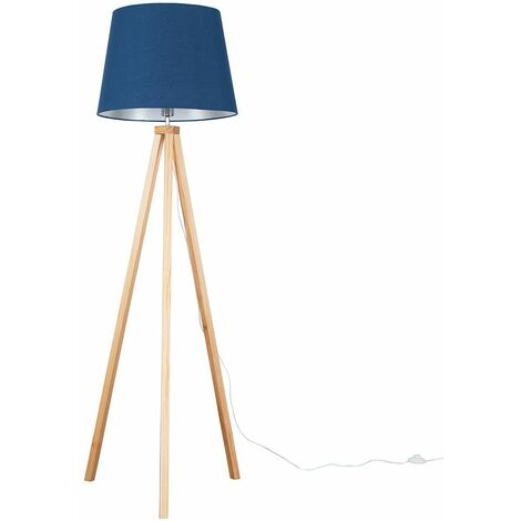 Barbro Light Wood Tripod Floor Lamp + LED Bulb - Mustard - Brown