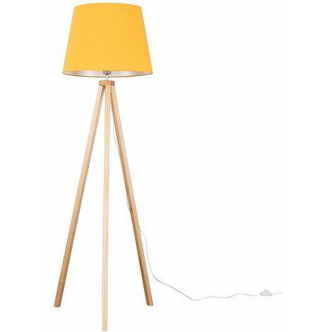 Barbro Light Wood Tripod Floor Lamp + LED Bulb - Mustard - Brown