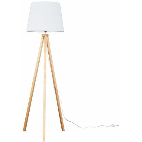 Barbro Light Wood Tripod Floor Lamp - Mustard