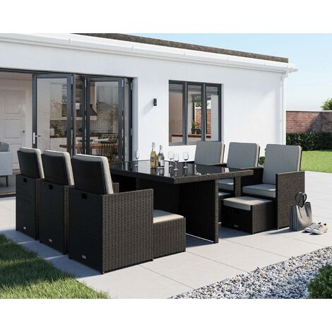 Barcelona 13 Piece Rattan Garden Cube Set (various colours)