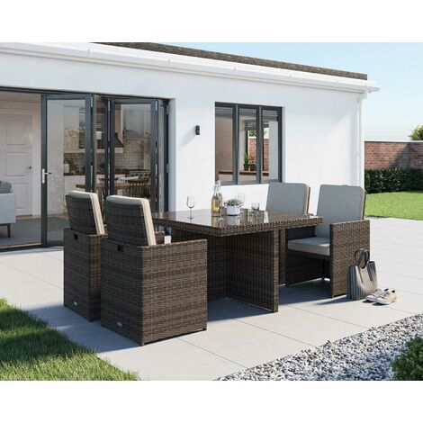 Barcelona 5 Piece Rattan Garden Cube Set (various colours)