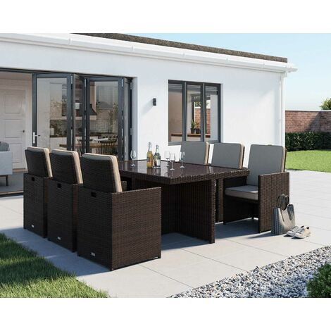 Barcelona 7 Piece Rattan Garden Cube Set (various colours)