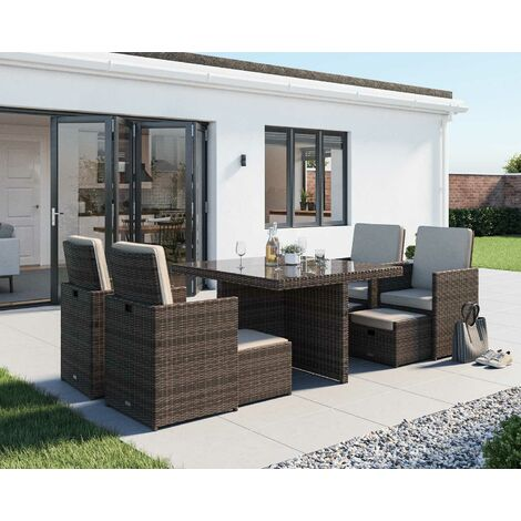 Barcelona 9 Piece Rattan Garden Cube Set (various colours)