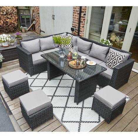 Barcelona Upgraded 9 Seater Outdoor Rattan Garden Furniture Classical Corner Dining Set-Black