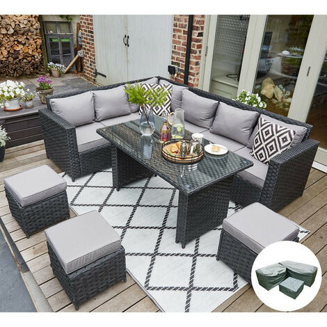 Barcelona Upgraded 9 Seater Outdoor Rattan Garden Furniture Classical Corner Dining Set-Black with Rain Cover