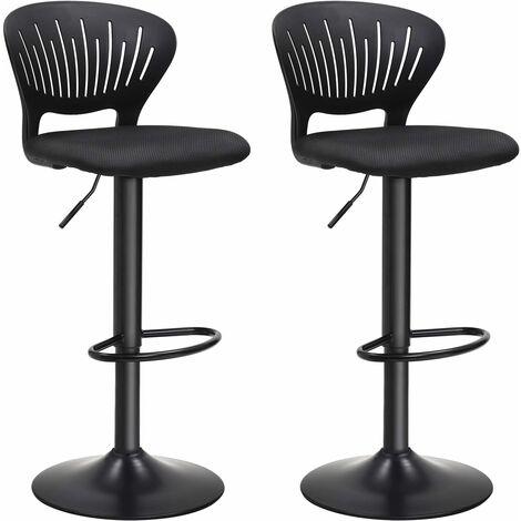 Barhocker 2er Set, Barstuhl höhenverstellbare mit kronenförmiger Rückenlehne, um 360° drehbar, bequem gepolsterter Sitz, Küche, Bar, Schwarz LJB04BK