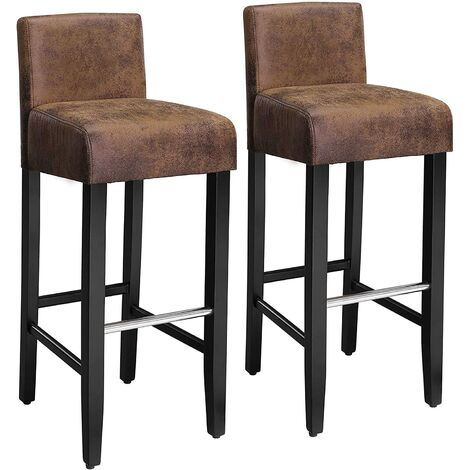 Barhocker 2er Set, gepolsterter Barstuhl mit niedriger Rückenlehne, PU, Sitzhöhe 76cm, Stuhlbeine aus Massivholz, mit Fußstütze, braun und schwarz, LDC32BR