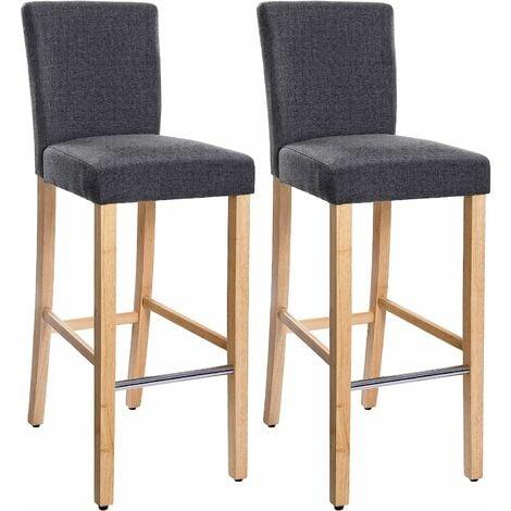 Barhocker 2er Set, gepolsterter Barstuhl mit Rückenlehne, Leinenimitat, Sitzhöhe 71 cm, Stuhlbeine aus Massivholz, mit Fußstütze, dunkelgrau und naturfarben, LDC31GY