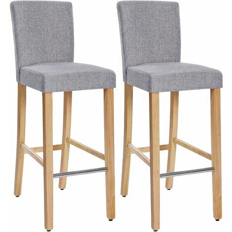 Barhocker 2er Set, Gepolsterter Barstuhl mit Rückenlehne, Leinenimitat, Sitzhöhe 76 cm, Stuhlbeine aus Massivholz, mit Fußstütze