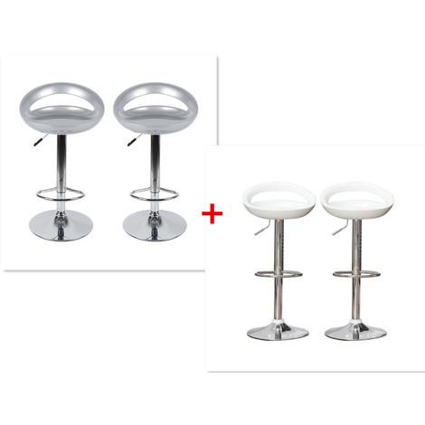 Barhocker ABS 360°frei drehbar höhenverstellbar mit Fußstütze für Küche | Grau+Weiß | 4 per-Set