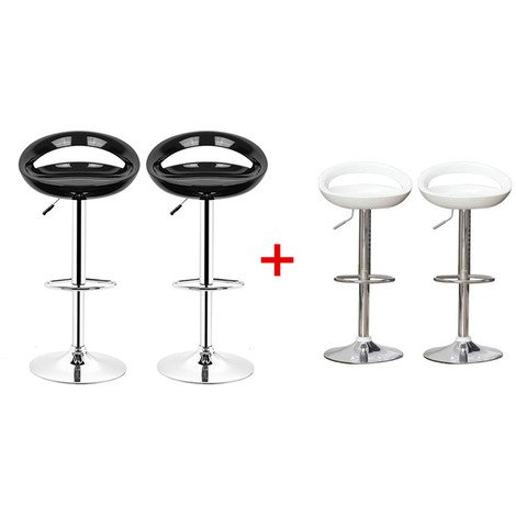 Barhocker ABS 360°frei drehbar höhenverstellbar mit Fußstütze für Küche | Weiß+Schwarz| 4 per-Set