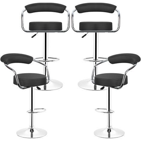 Barhocker|aus Kunstleder, um 360°drehbar und höhenverstellbar Gestell aus verchromter Stahl | Barstuhl, Tresenhocker, Barsessel, Küchenhocker |Schwarz