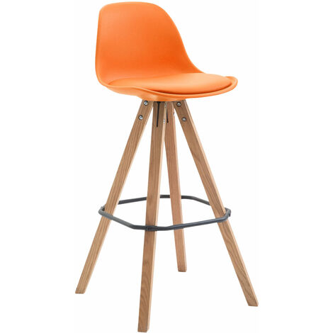 Barhocker Franklin Kunststoff Square orange Natura (eiche