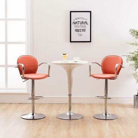 Barhocker mit Armlehne 2 Stk. Orange Kunstleder