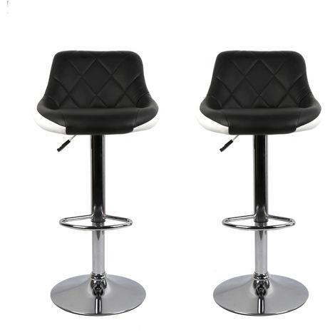 Barhocker mit Lehne 2er-Set Bar-Stuhl Tresenhocker Drehhocker Küchenhocker DHL[Schwarz-weiß]