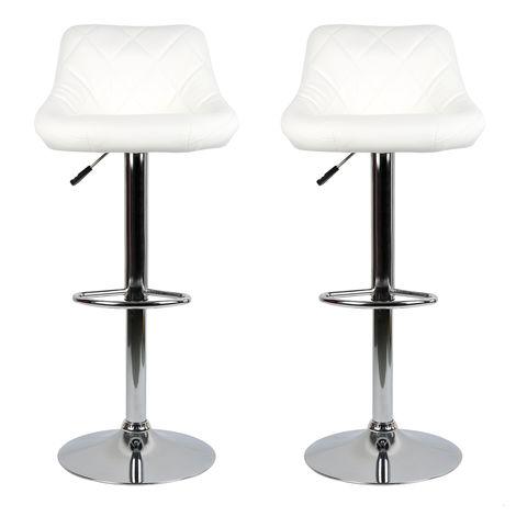 Barhocker mit Lehne 2er-Set Bar-Stuhl Tresenhocker Drehhocker Küchenhocker [Weiß]