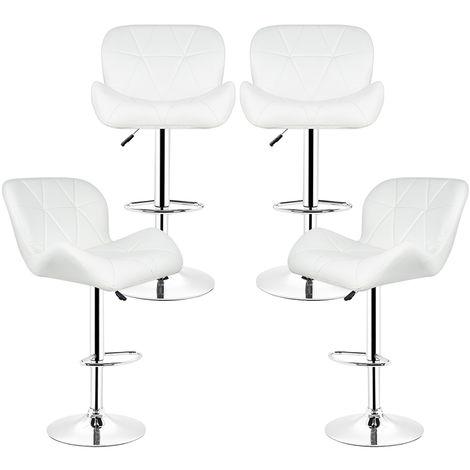 Barhocker - mit Lehne | Kunstleder | Höhenverstellbar .Weiß