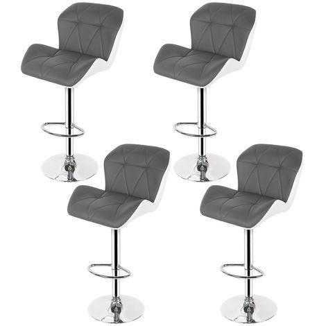 Barhocker Tresenhocker Stuhl Küchenhocker . Höhenverstellbar.360° drehbar.Grau-Weiß