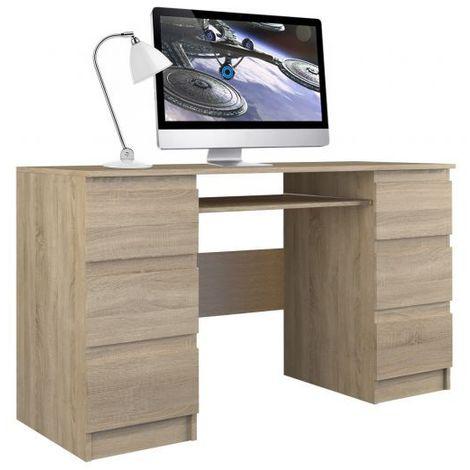 BARI - Bureau informatique - Bureau d'ordinateur - 6 Tiroirs + Support clavier coulissant - Mobilier de bureau - Aspect bois - sonoma