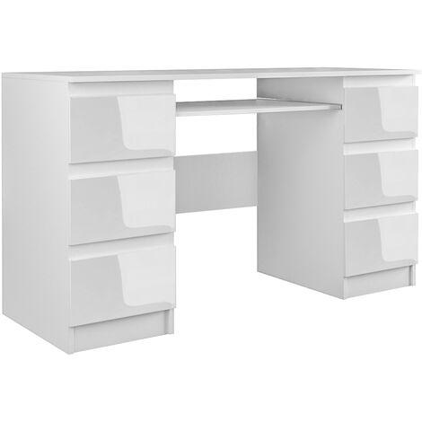 BARI - Bureau informatique - Bureau d'ordinateur - 6 Tiroirs + Support clavier coulissant - Mobilier de bureau - blanc