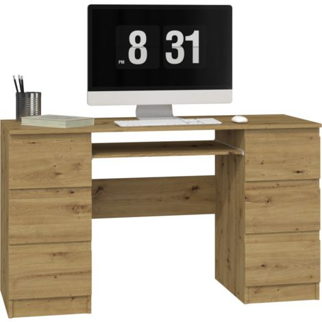 BARI | Bureau informatique d'ordinateur design moderne | 6 tiroirs | Dimensions 76x130x51 | Support coulissant pour clavier - Chêne