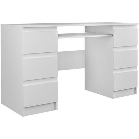 BARI | Bureau informatique d'ordinateur | Travail Gaming Office | 6 Tiroirs + Support clavier coulissant | Mobilier moderne bureau - blanc