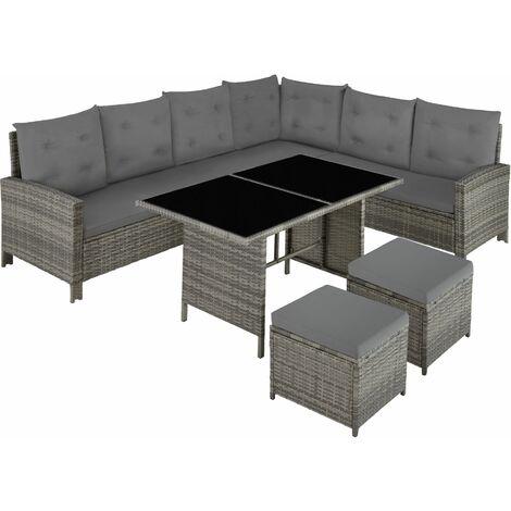 Barletta Rattan Garden Furniture Set, variant 2 - rattan garden furniture set, rattan garden furniture, lounge set - grey/beige - grey/beige